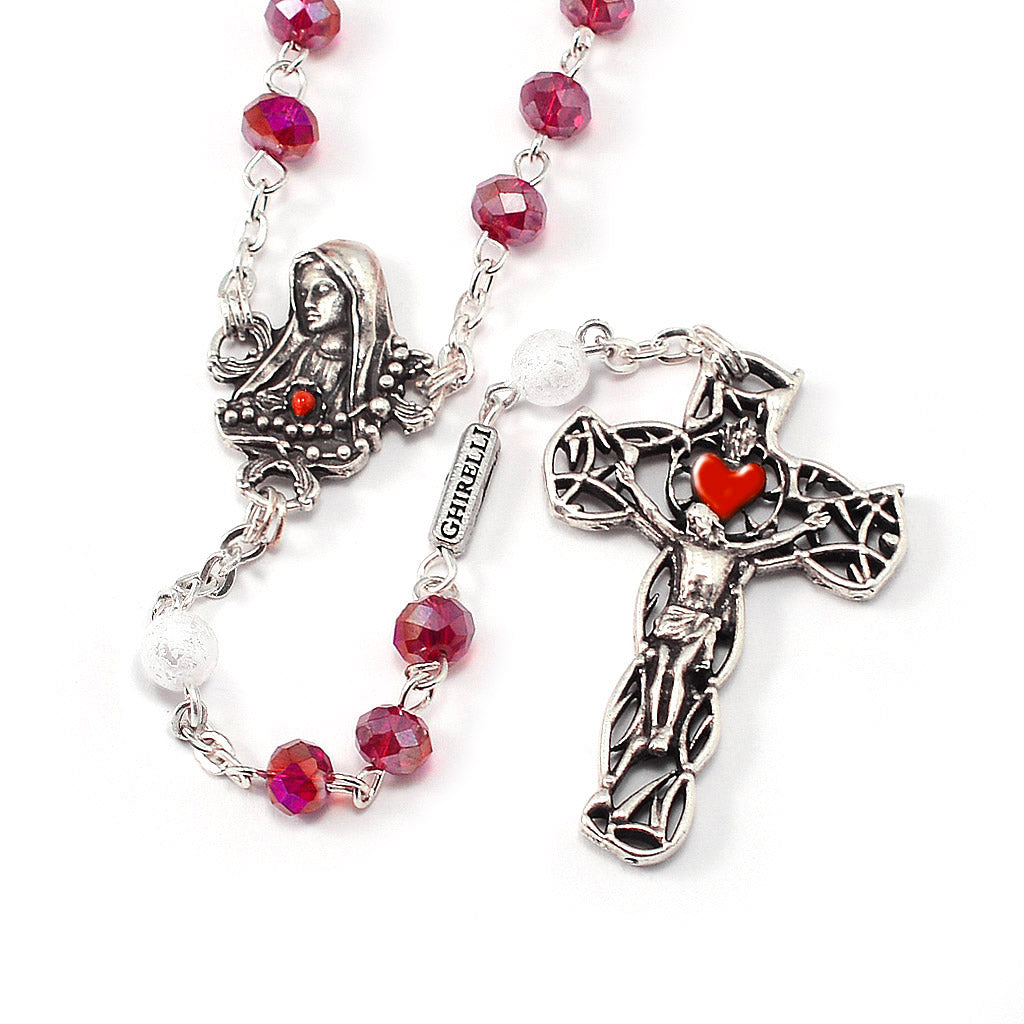 Our Lady of Fatima Rosary with Red & White Beads
