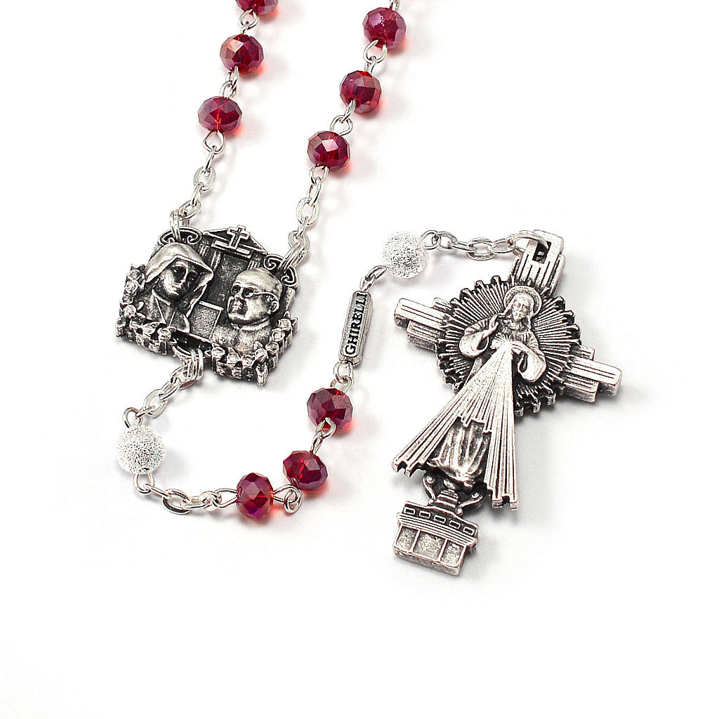 Saint Faustina Divine Mercy Rosary with Faceted Bohemian Glass Beads