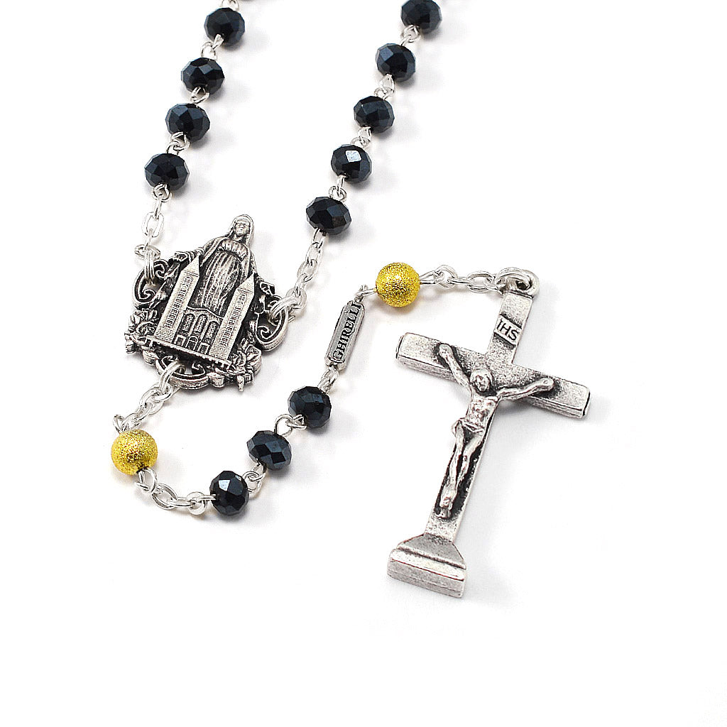 Medjugorje Queen of Peace Rosary, Black Crystal