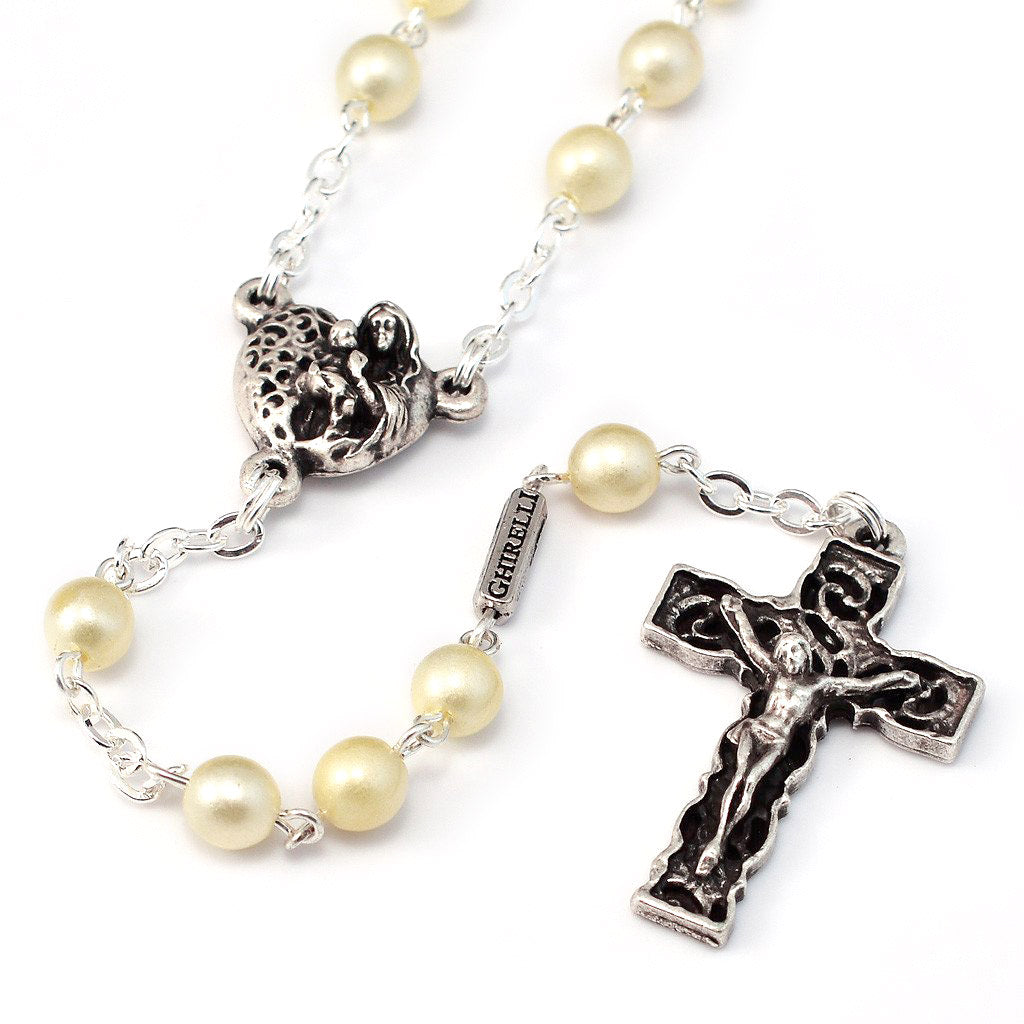 Holy Communion Pearl & Silver Rosary