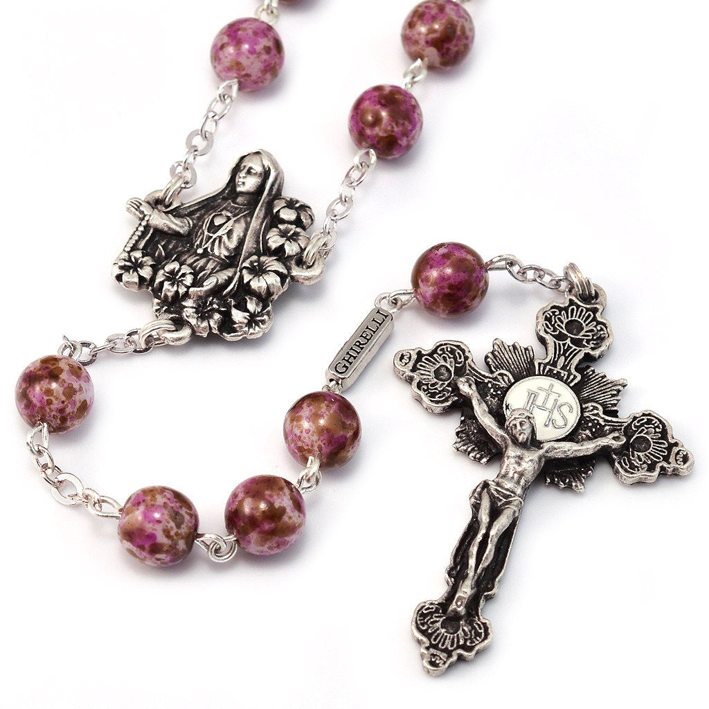 Fatima Lily Marbled Bohemian Glass & Silver Rosary