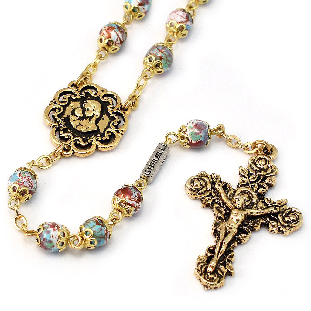 Mary's Motherly Love Collection Blue & Gold Rosary
