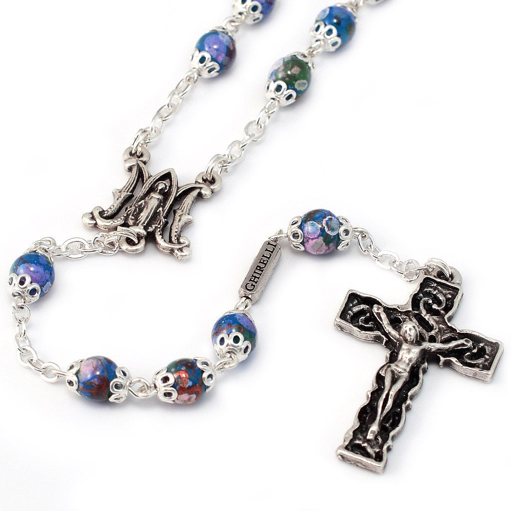 Annunciation Rosary, Silver & Bohemian Glass