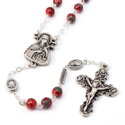 Saint Therese of Lisieux Red & Silver Roses Rosary