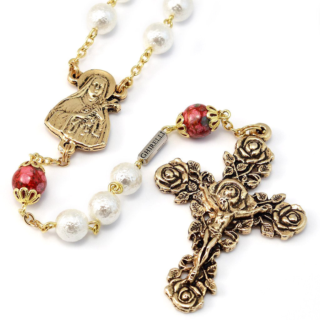 Saint Therese of Lisieux Pearl & Gold Rosary