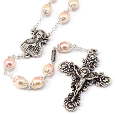 Saint Therese of Lisieux Blush & Silver Roses Rosary