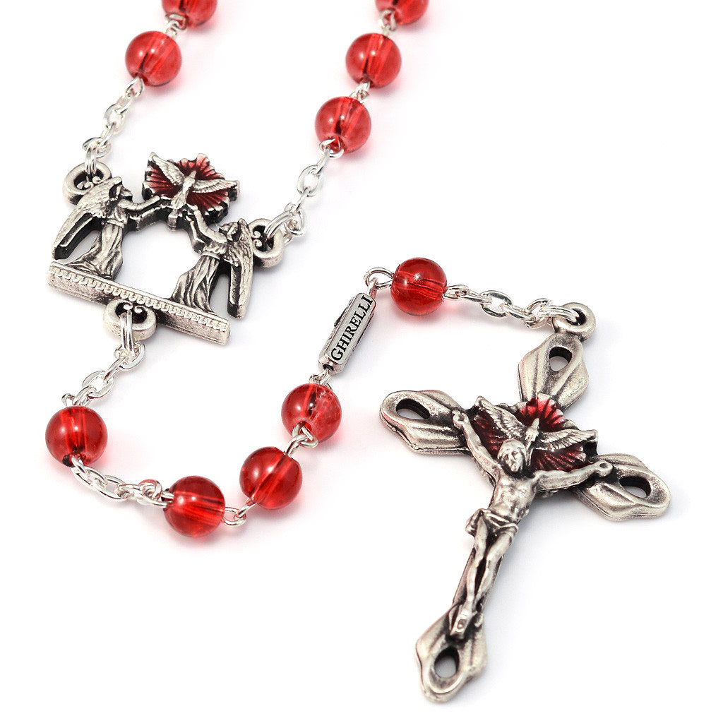 Holy Confirmation Red Glass & Silver Rosary
