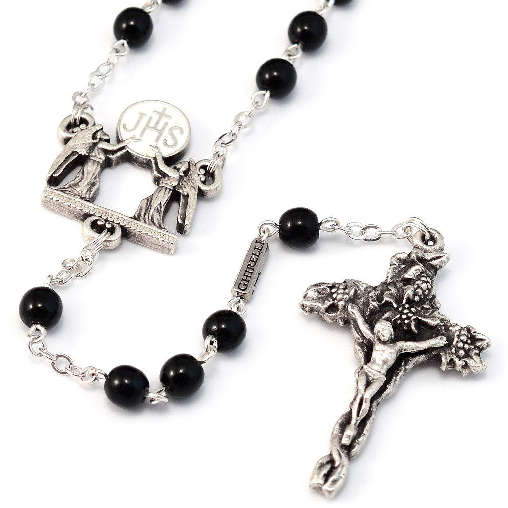 Holy Communion Black & Silver Vine Rosary