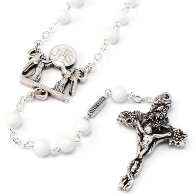 Holy Communion Vine & Branches White & Silver Vine Rosary