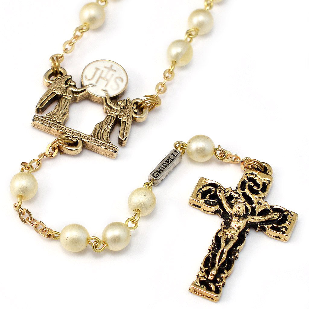 Holy Communion Eucharistic Pearl & Gold Rosary