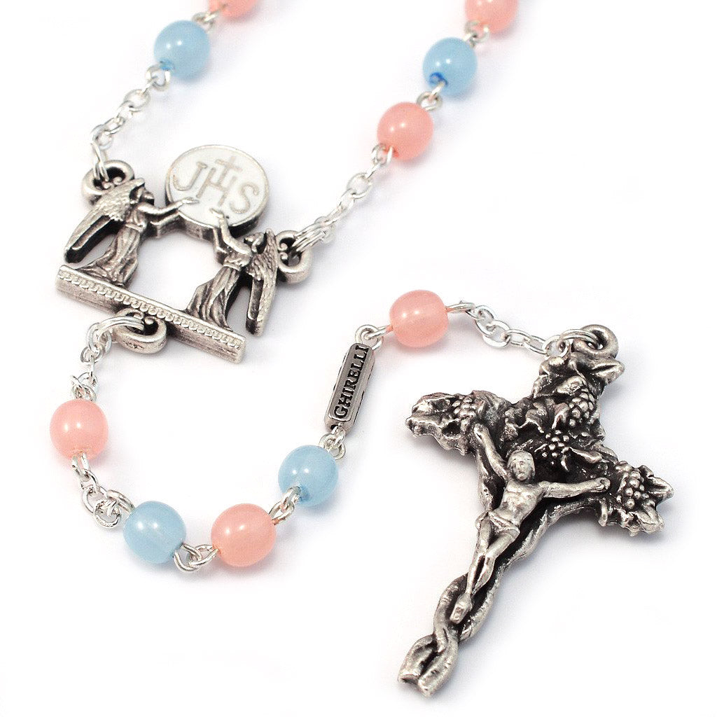 Holy Communion Pastel Glass & Silver Rosary