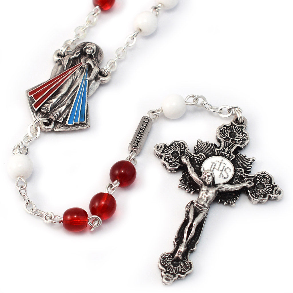 Merciful Jesus Divine Mercy Crimson & White Rosary