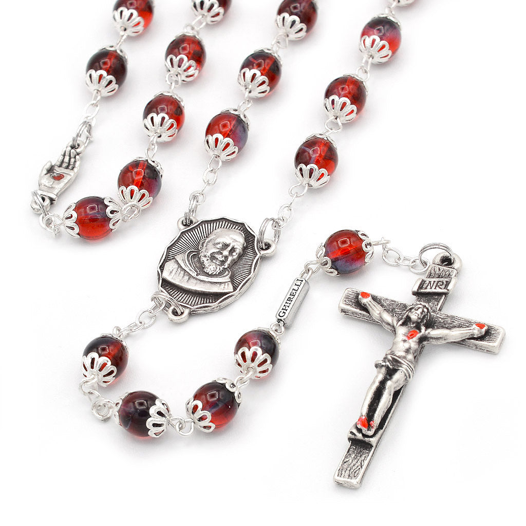 Saint Pio of Pietrelcina Anniversary Rosary in Antique Silver with Red Bohemian Glass Beads