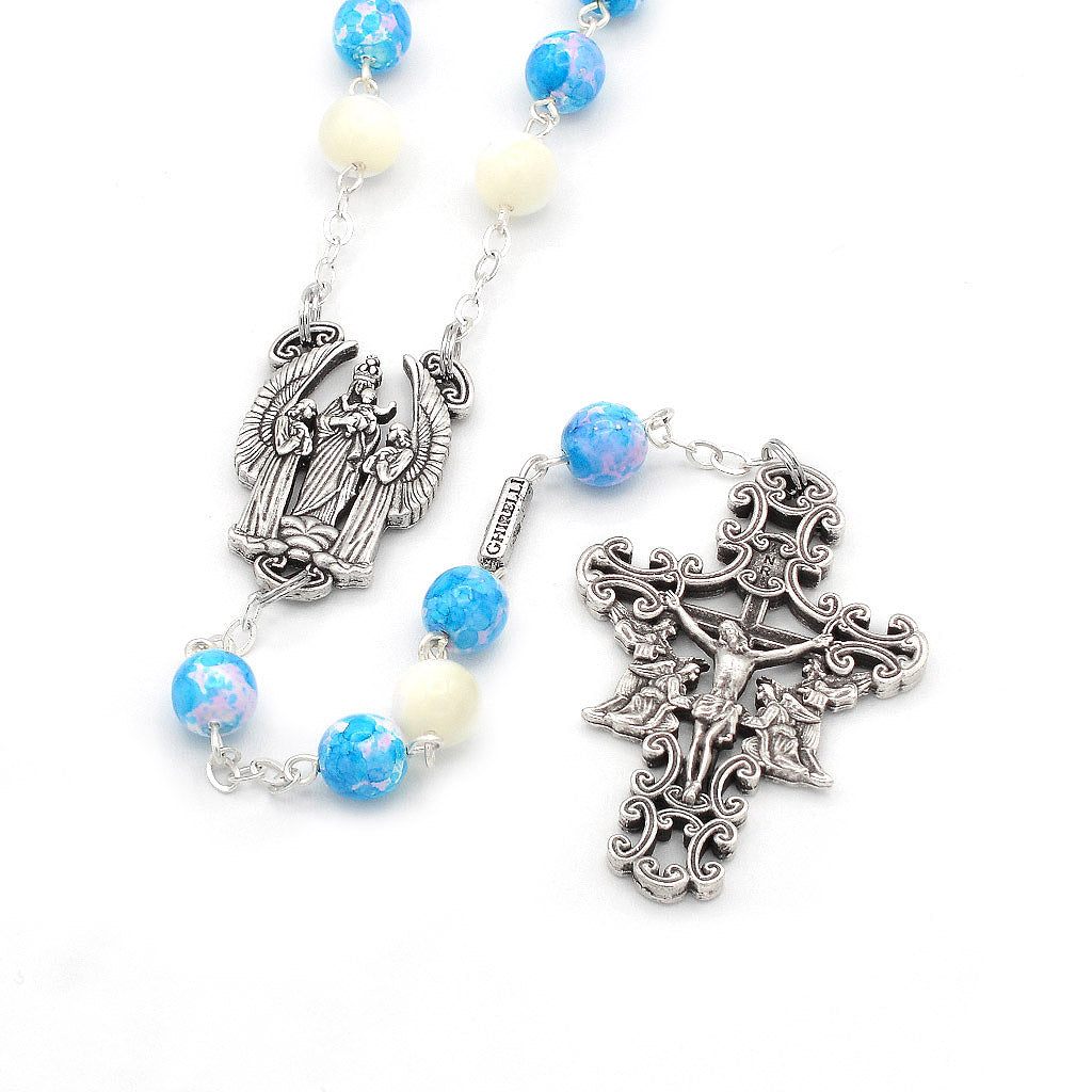 The Holy Angels Rosary in Antique Silver with Genuine Mother of Pearl Accent Beads