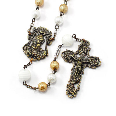 Rosaries for Women with White & Gold Murano Glass