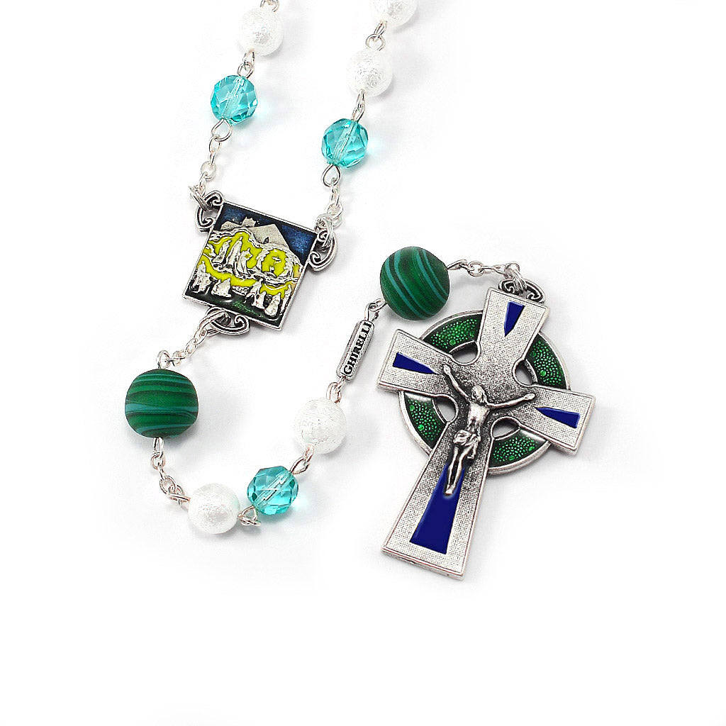 Our Lady of Knock Queen of Ireland Rosary with Murano Glass
