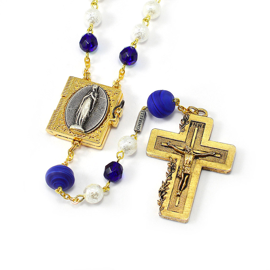 Lourdes Locket Murano Beads & Gold Rosary