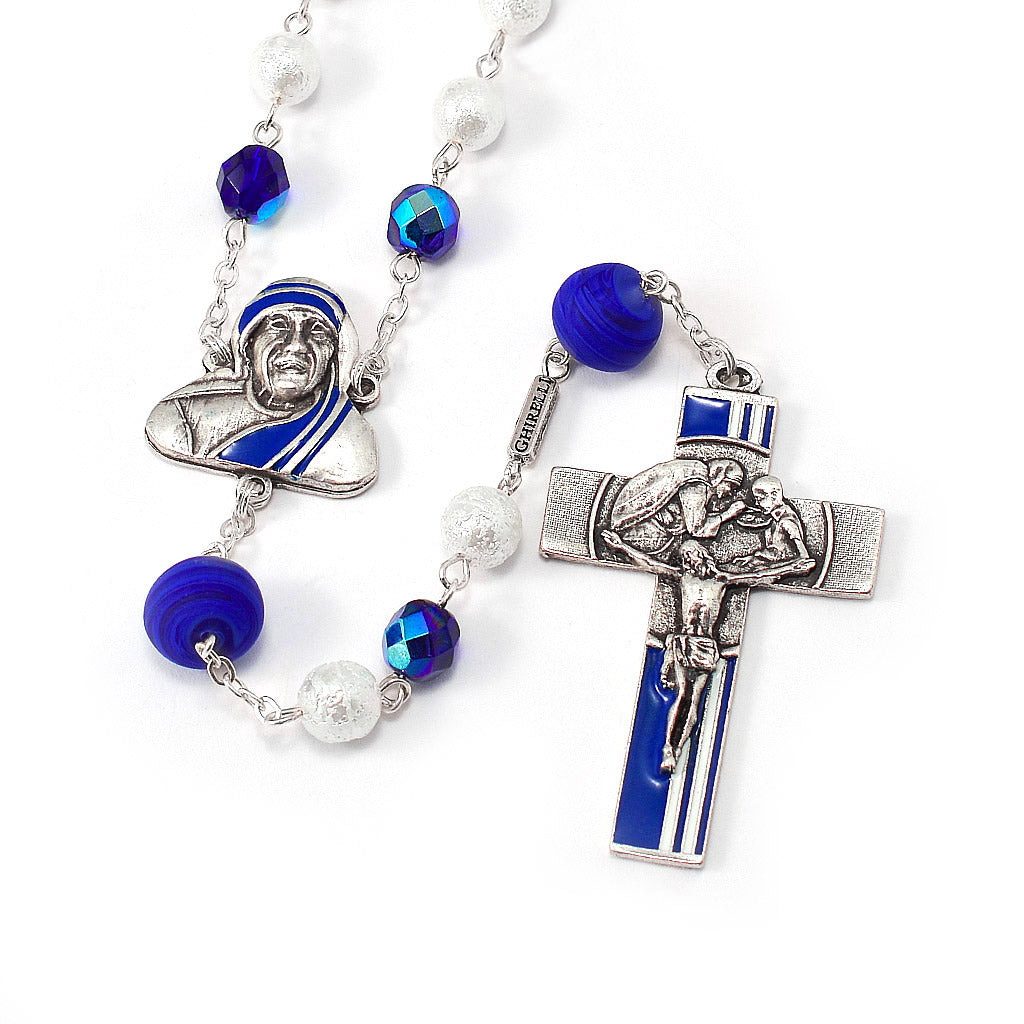 Saint Mother Teresa of Calcutta Rosary with Murano Glass