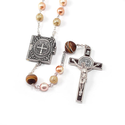 Saint Benedict Locket Rosary Blush & Cafe Murano