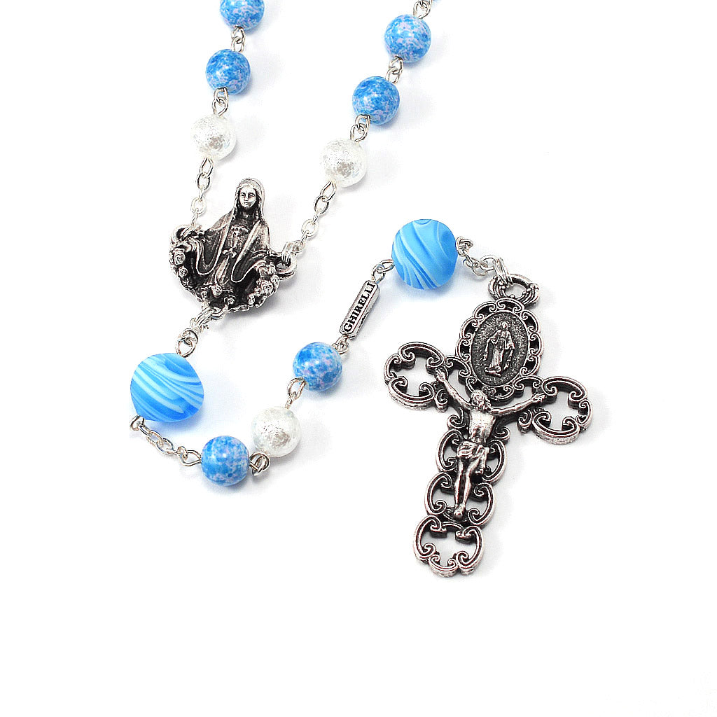 Miraculous Medal Rosary with Genuine Murano Beads