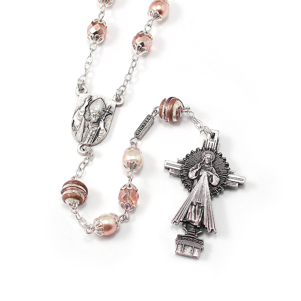 Saint John Paul II Rosary, Blush & Silver
