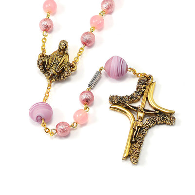 Madonna Rose Murano & Gold Rosary