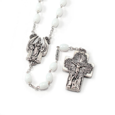 The Holy Mass Rosary with Oval Glass White Beads by Ghirelli