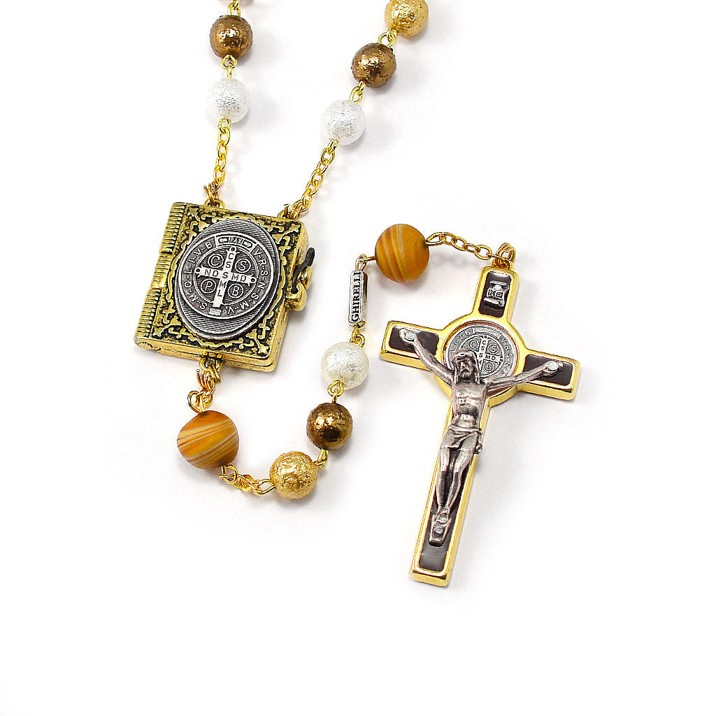 Saint Benedict Booklet Rosary with Murano Beads & Gold