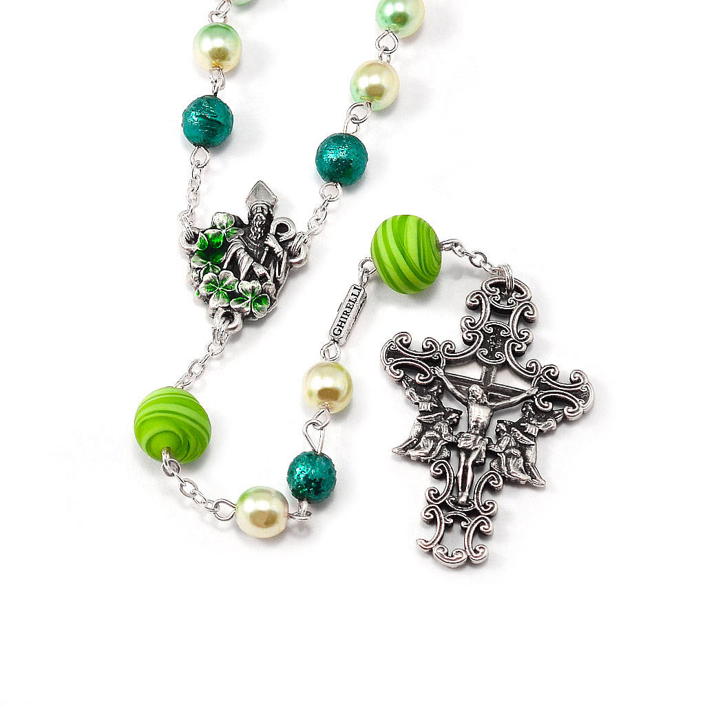 Saint Patrick Rosary in Murano Glass & Silver