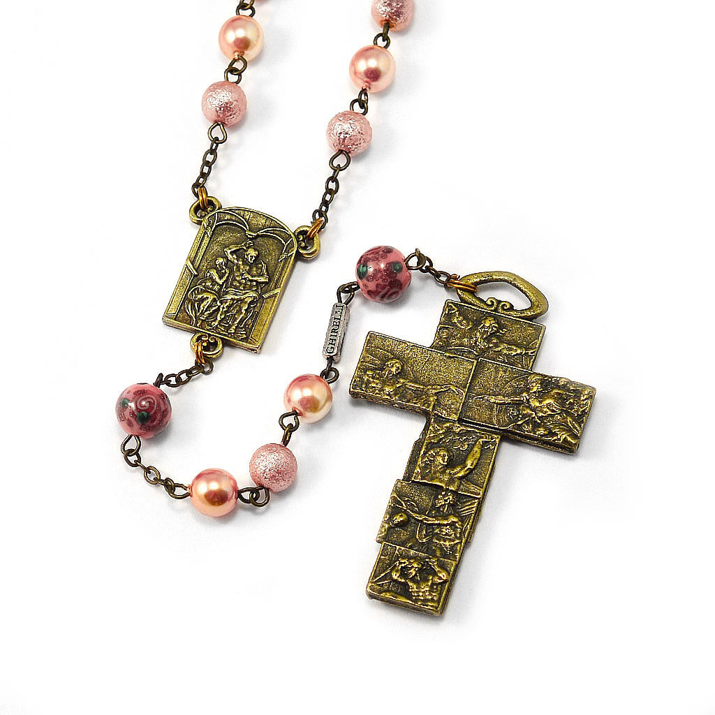 The Sistine Chapel Rosary in Antique Bronze with Bohemian Frosted Pink Beads