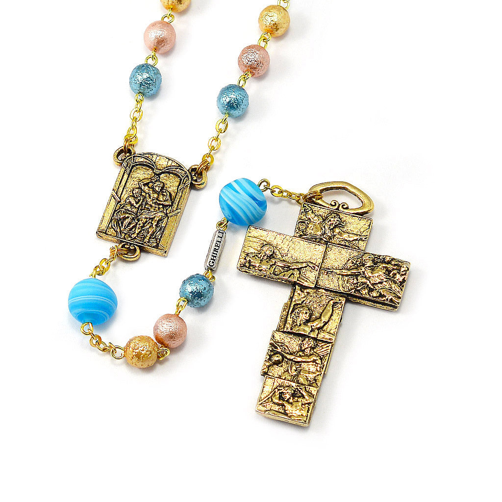 The Sistine Chapel Rosary in Antique Gold with Genuine Murano Glass
