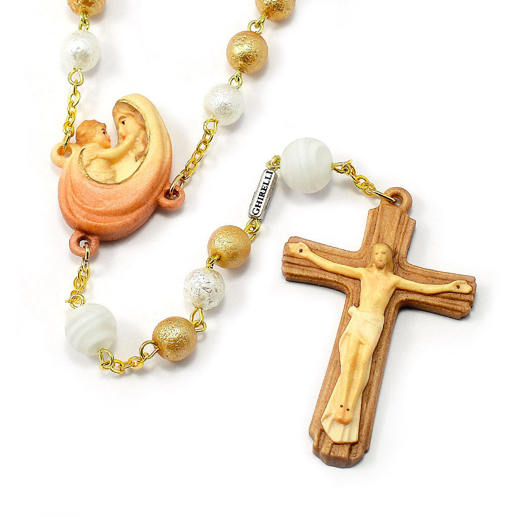 Precious Val Gardena Rosary with Genuine Murano Beads