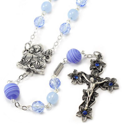 Saint Anthony Rosary in Antique Silver and Murano Glass Beads by Ghirelli