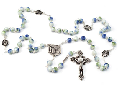 Knock Apparition Green, Blue and Silver Rosary