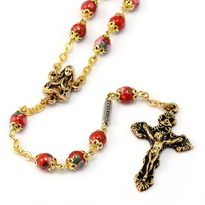 Lourdes Grotto Red Bohemian Glass & Gold Rosary