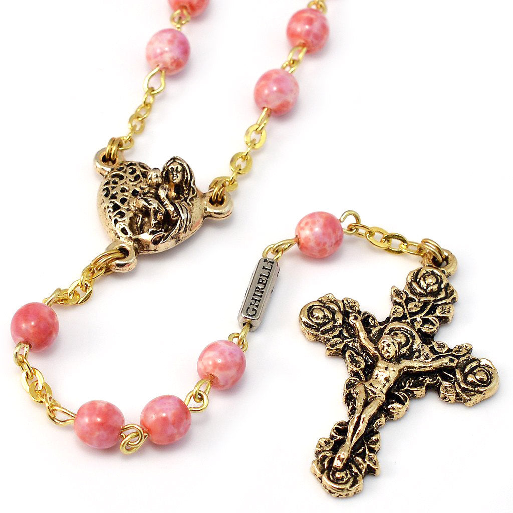 Saint Valentine Heart of Love Rosary, Pink