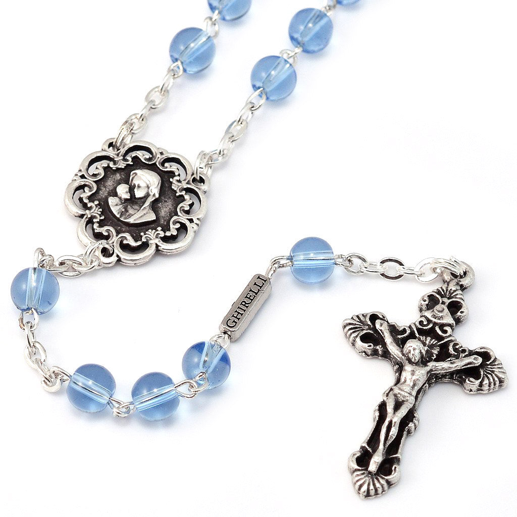 Mary's Motherly Love Collection Blue & Silver Rosary - 6mm