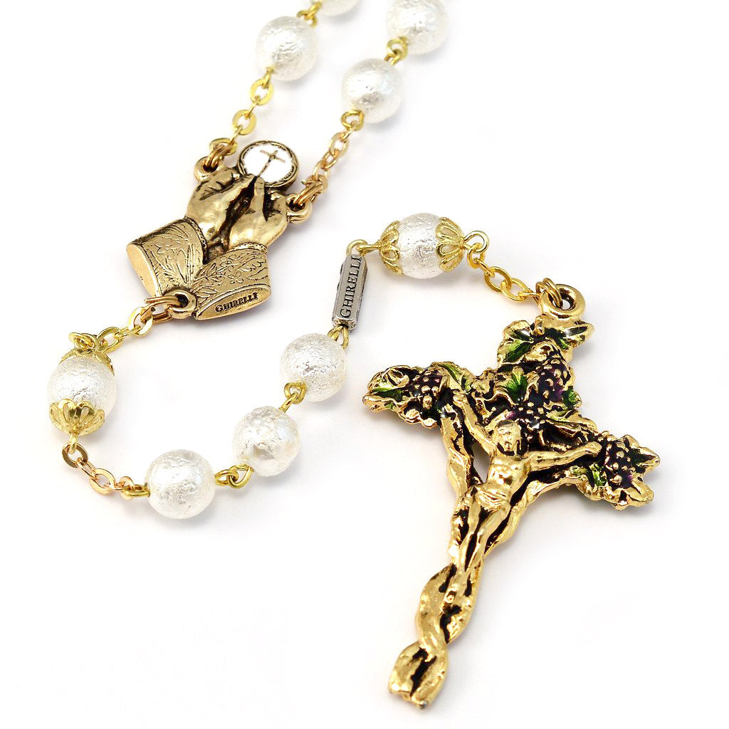 Holy Communion Vine & Branches Pearl & Gold Rosary