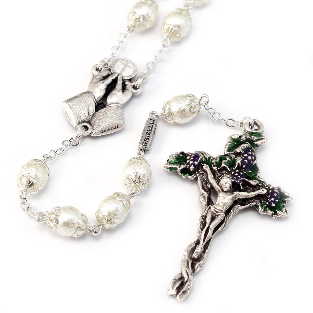 Holy Communion Vine & Branches Pearl & Silver Rosary