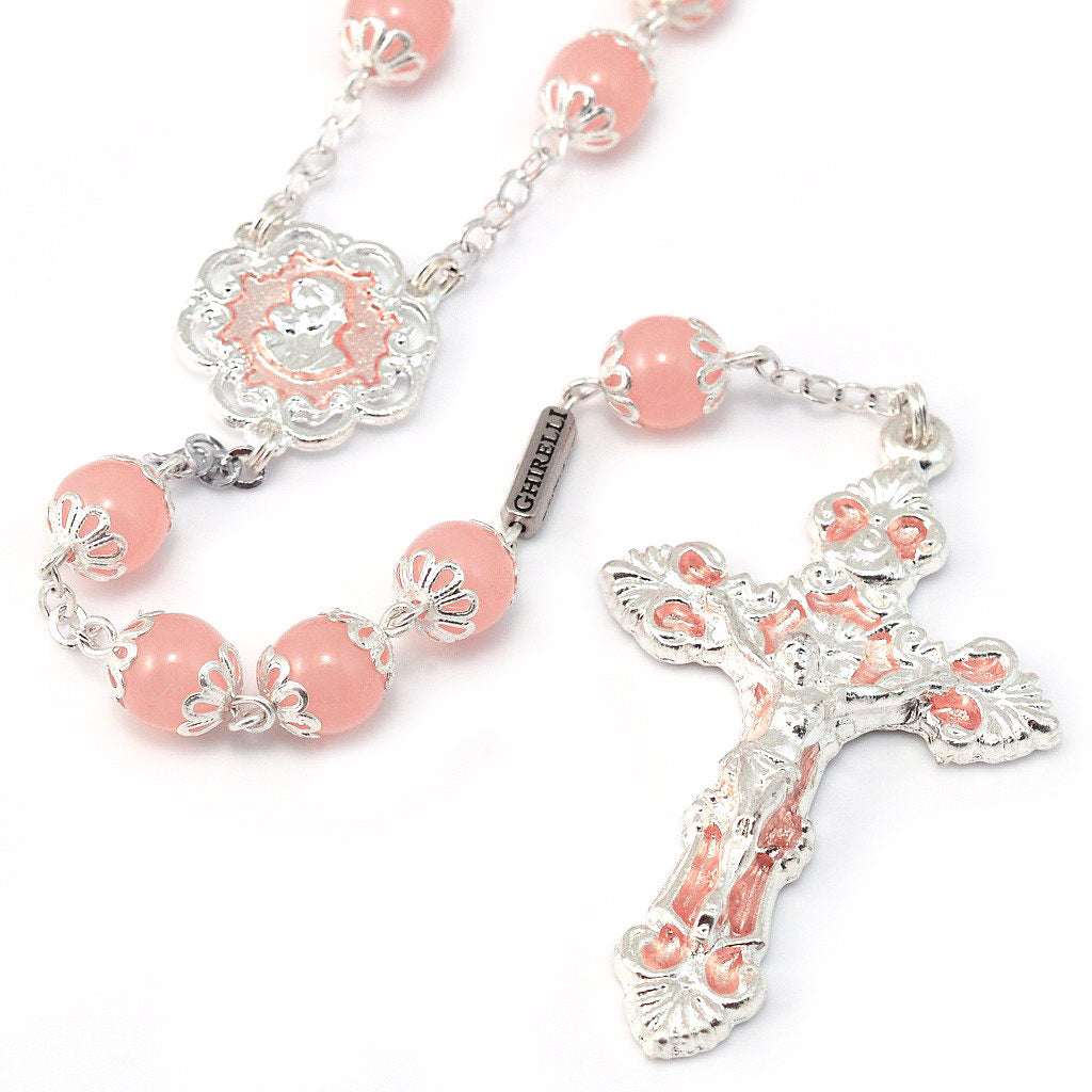 Mary's Motherly Love Collection Blush & Silver Rosary - 8mm