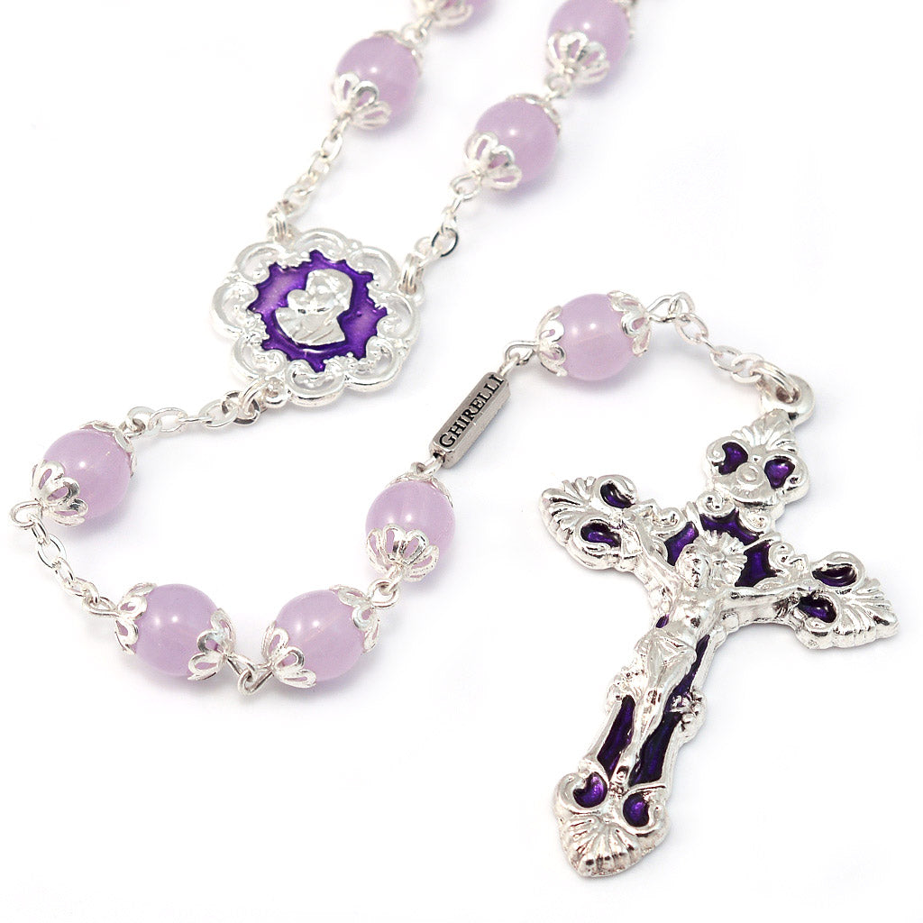 Mary's Motherly Love Collection Lilac & Silver Rosary