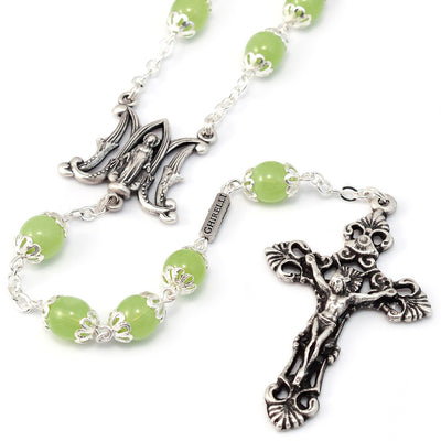 Annunciation Rosary, Silver & Peridot Bohemian Glass