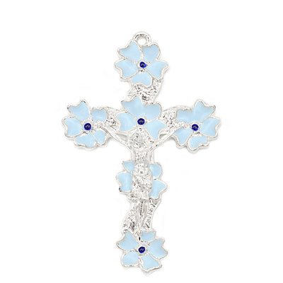 Lourdes Lily Sky Blue & Silver Floral Rosary