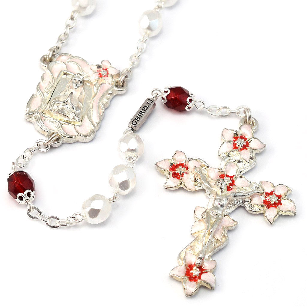 Lourdes Lily White, Red & Silver Enameled Rosary
