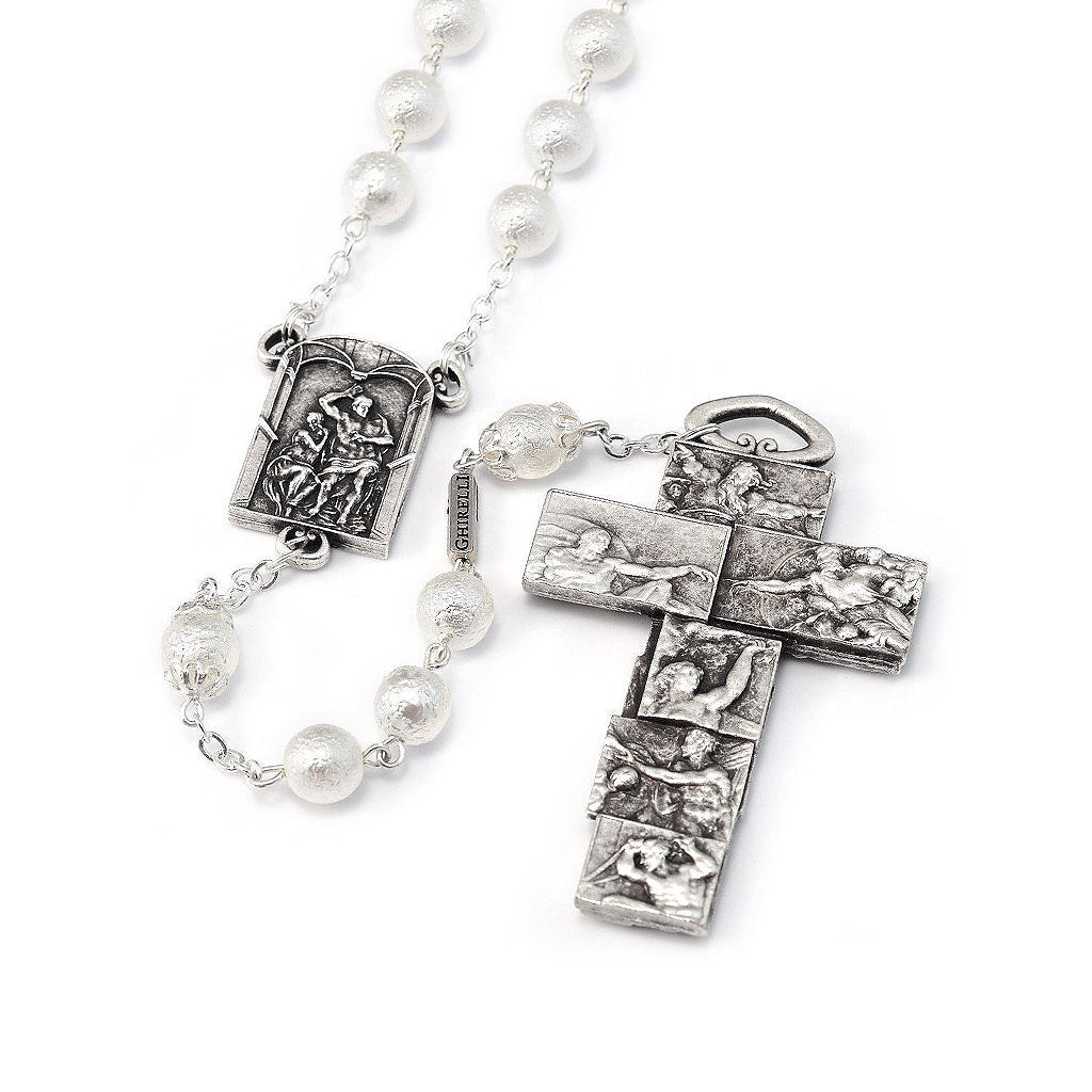 The Sistine Chapel Rosary in Silver with White Pearl Beads