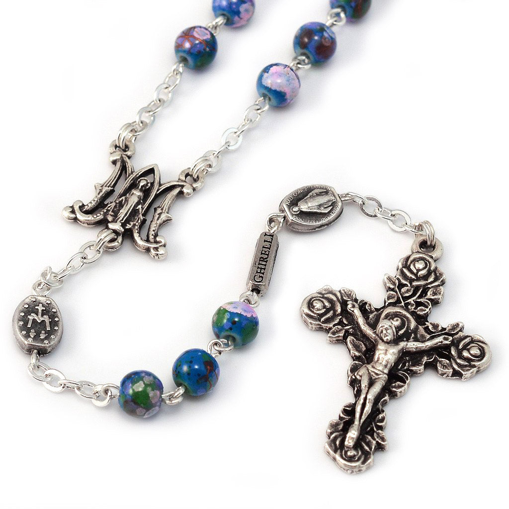 Miraculous Medal Blue Floral & Roses Rosary