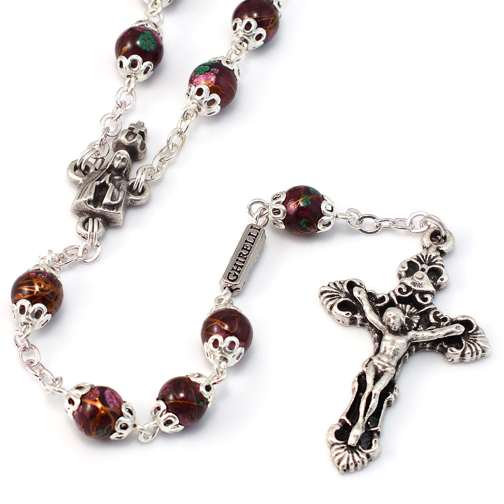 Fatima Crown Marbled Crimson & Silver Rosary