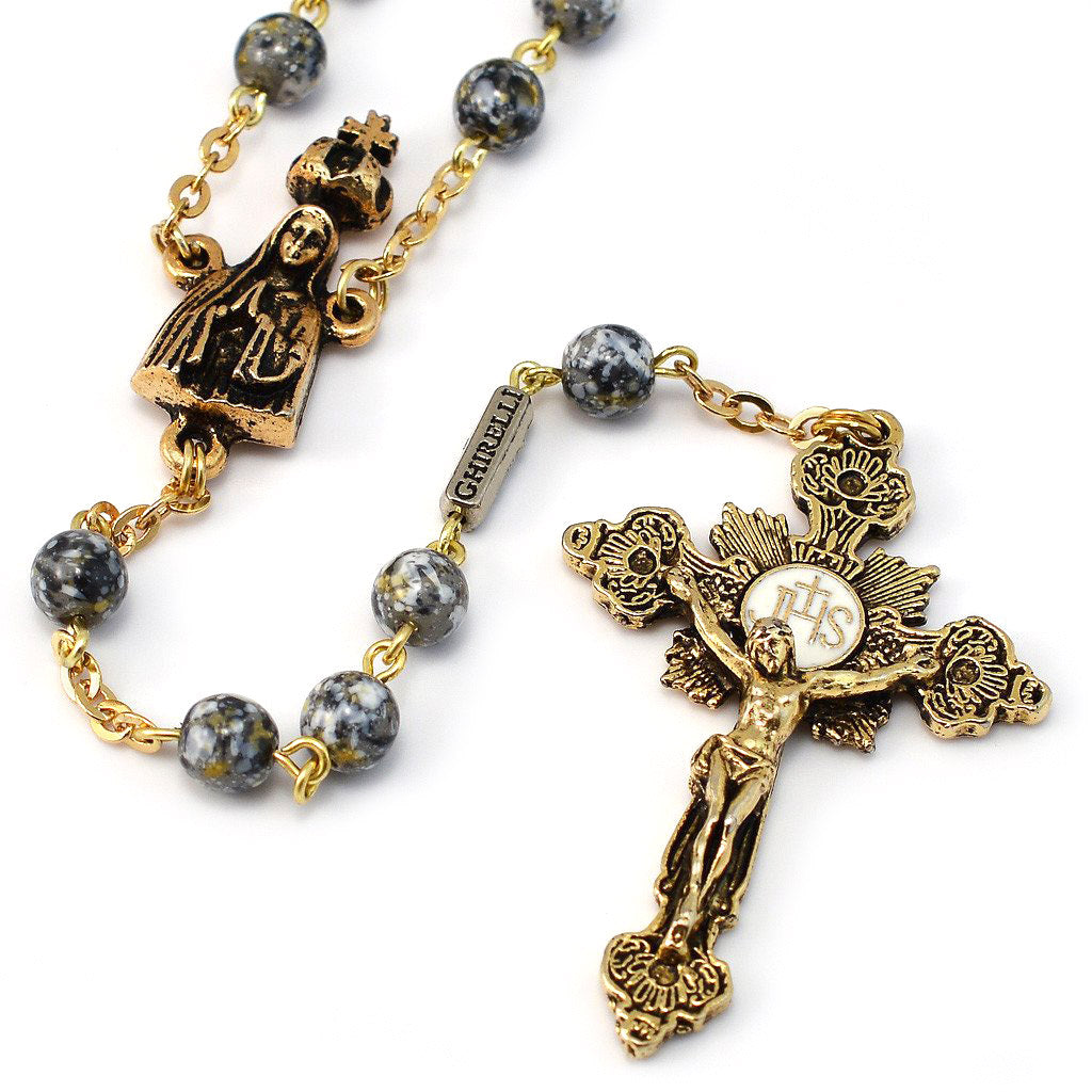 Fatima Crown Marbled Grey & Gold Rosary