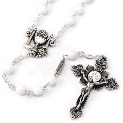 Holy Communion Pure White & Silver Rosary