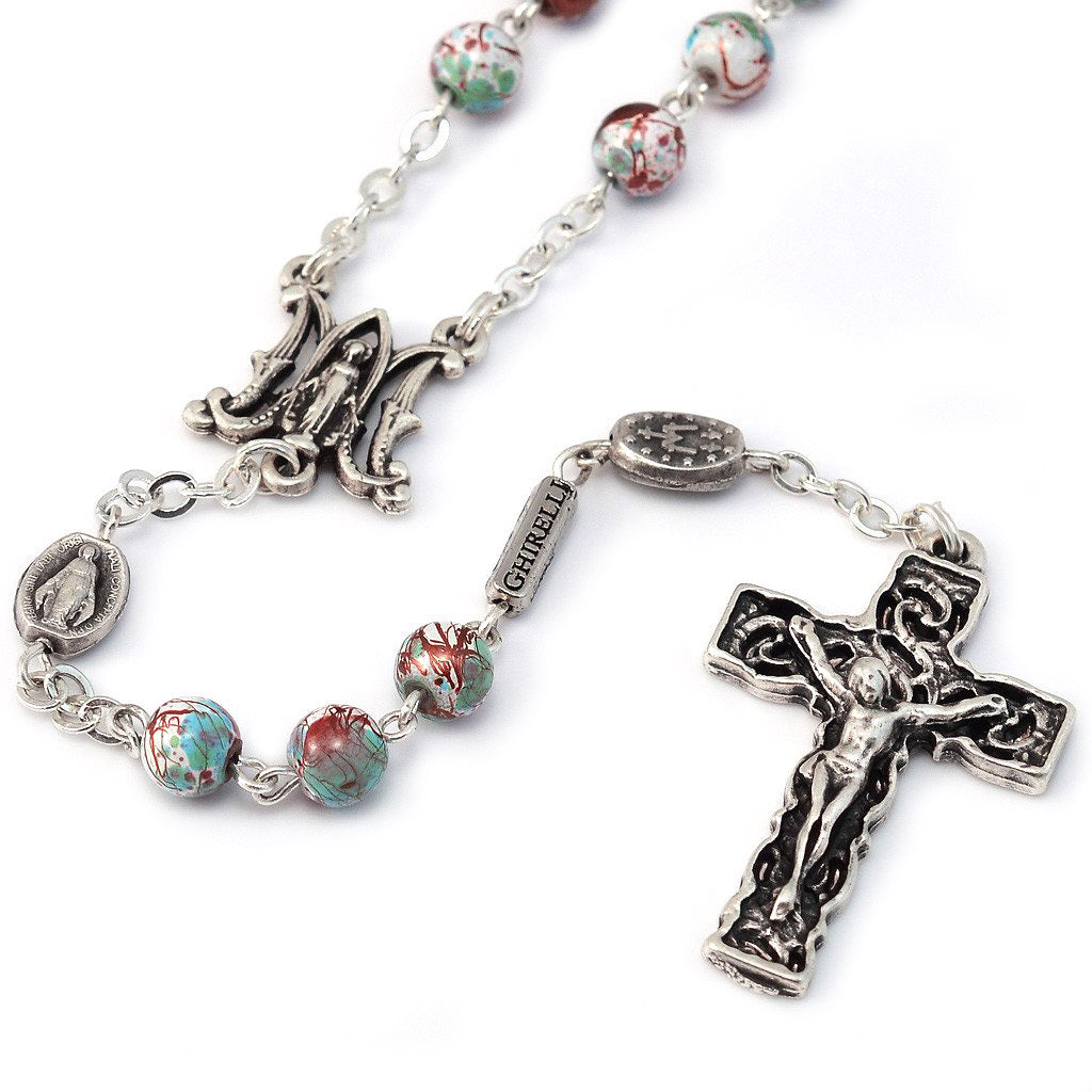 Miraculous Medal Crimson & Mint Marbled Bead Silver Rosary